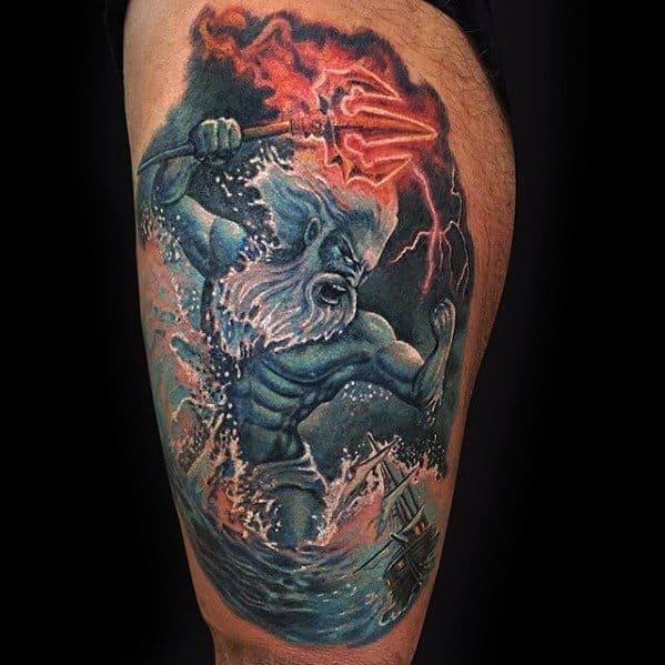 Thigh 3d Realistic Artistic Male Trident Poseidon Tattoo Ideas