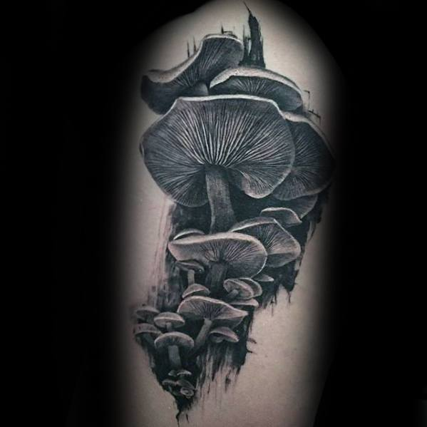 Thigh 3d Realistic Mens Mushroom Tattoo Ideas