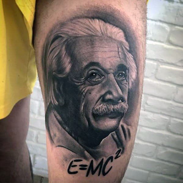 Thigh Albert Einstein Tattoo Designs For Guys
