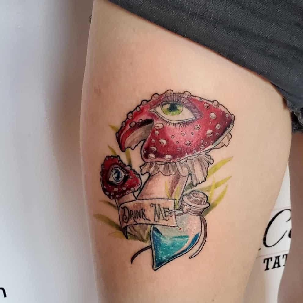 thigh alice in wonderland tattoos clairevoncrow