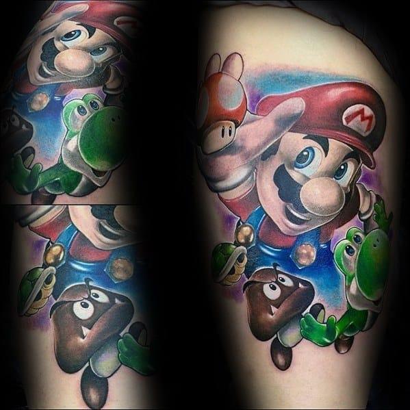 Thigh Amazing Mens Nintendo Yoshi Tattoo Designs