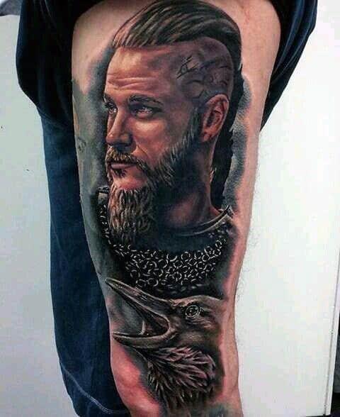 Thigh And Leg Guys Ragnar Tattoo