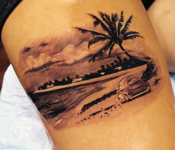 Thigh Beach Palm Trees Tattoos For Males