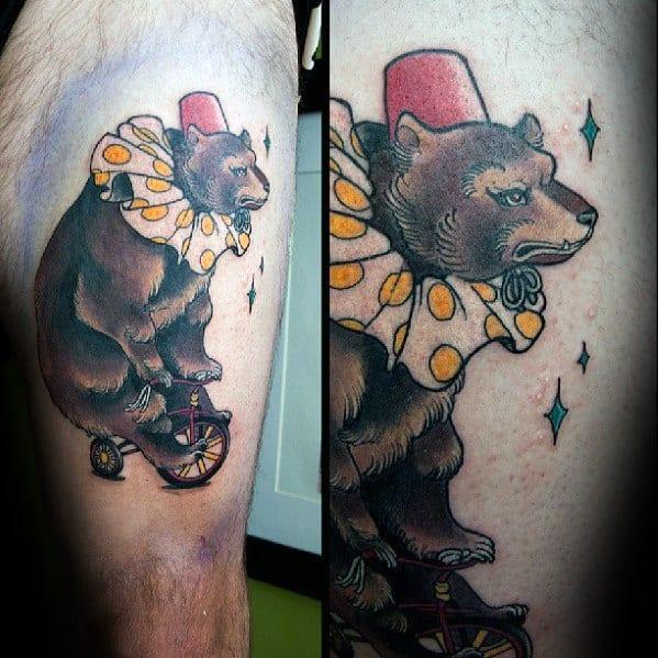 Thigh Bear Circus Tattoos Male