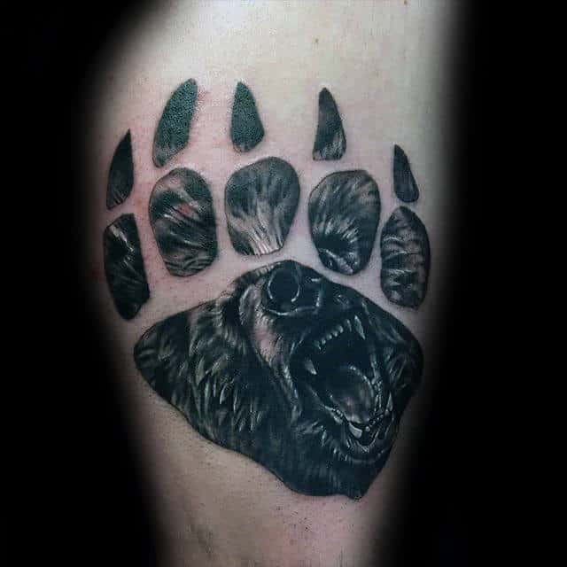 Thigh Bear Claw Male Tattoo Inspiration Ideas