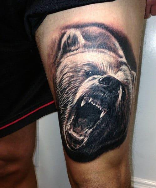 Thigh Bear Tattoo Designs For Men