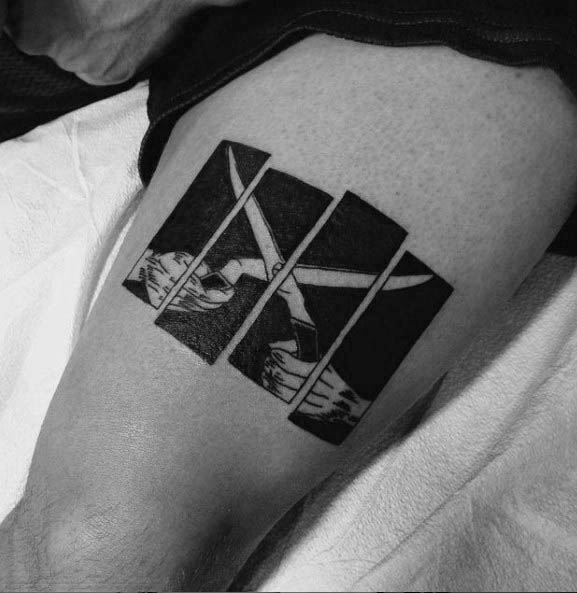Thigh Black Flag Guys Tattoos