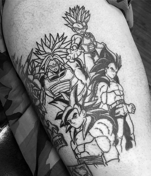 Thigh Black Ink Anime Tattoo Design On Man