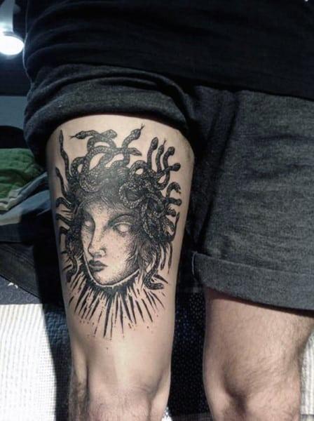 Thigh Black Ink Medusa Guys Tattoos