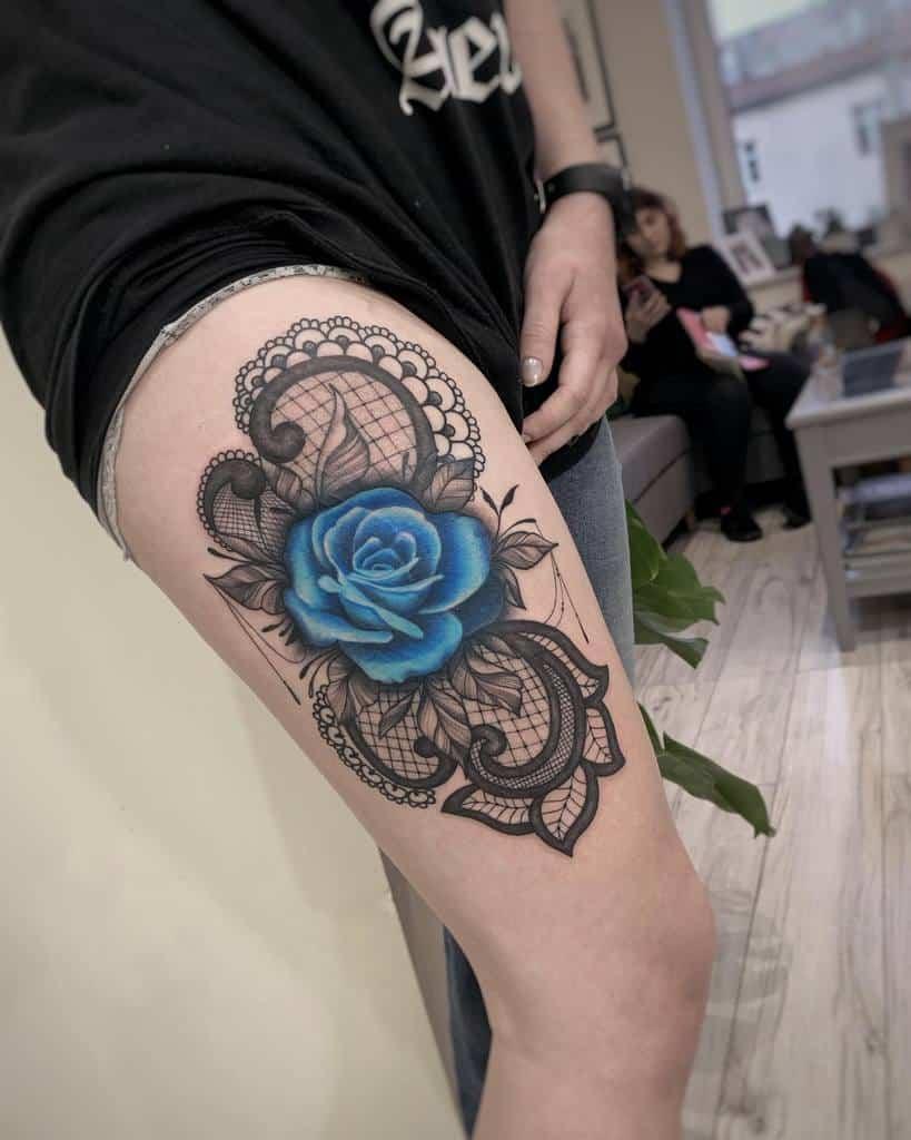 thigh blue rose tattoos ileprocentduszy