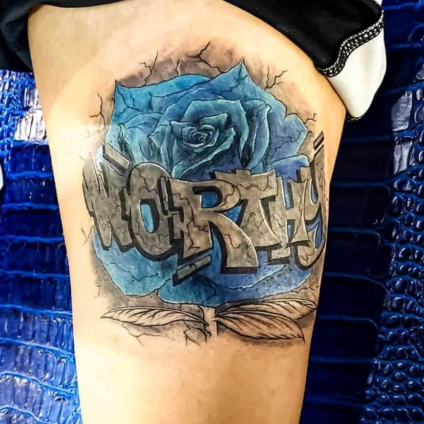 thigh blue rose tattoos jiggamantattoos