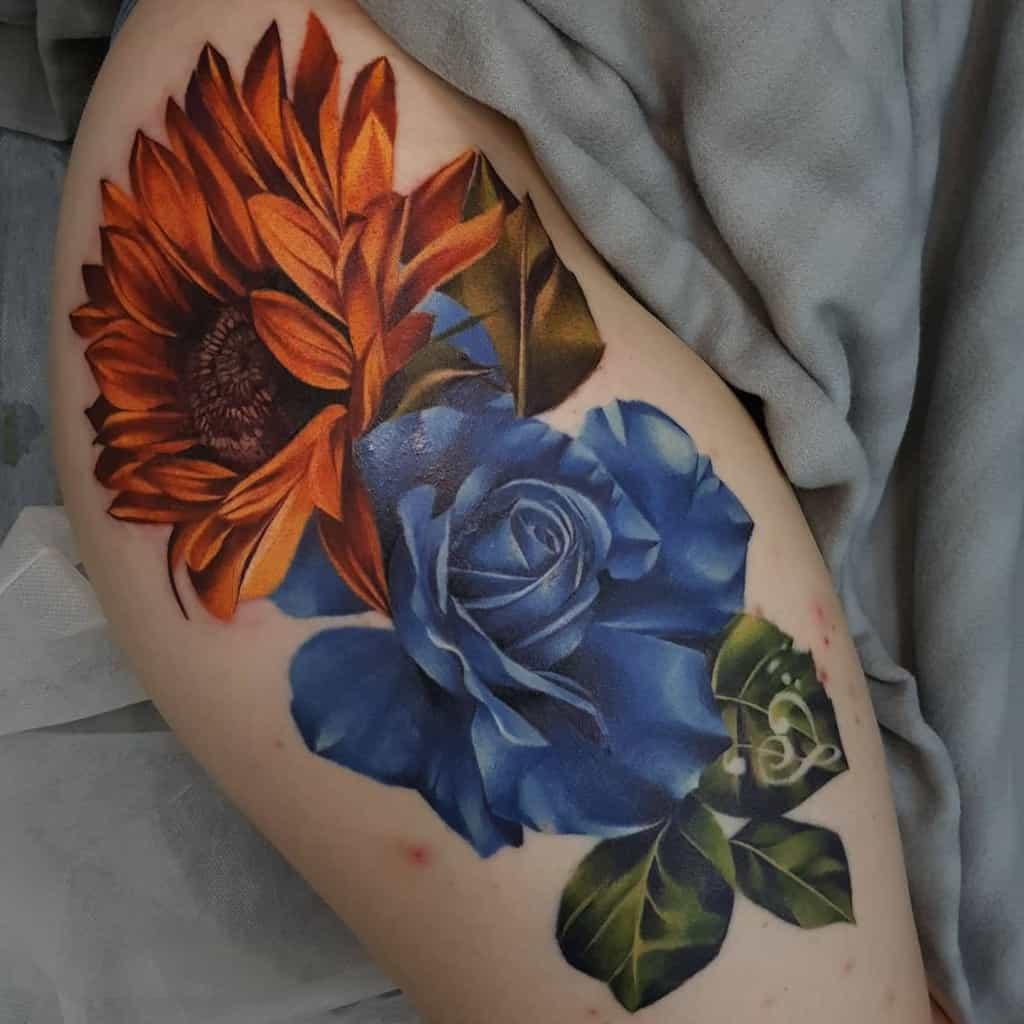 thigh blue rose tattoos mad_louie