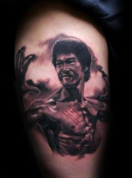 Thigh Bruce Lee Tattoos Men