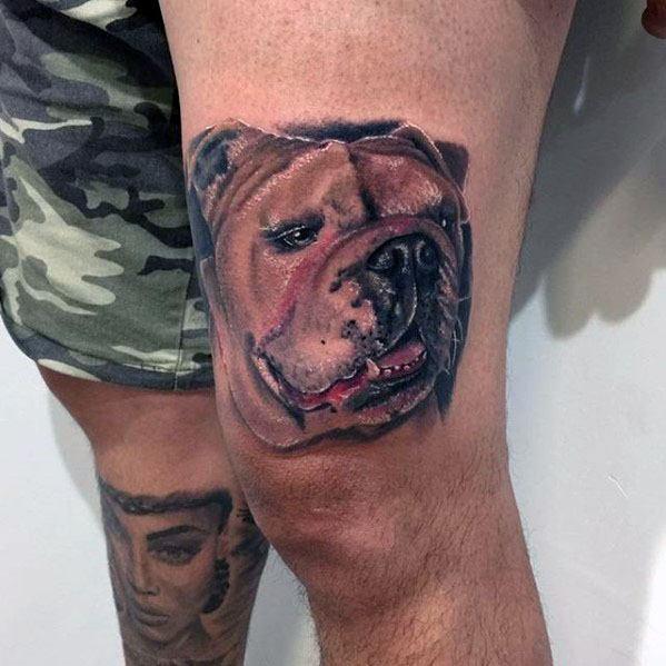 Thigh Bulldog Head Male Tattoos