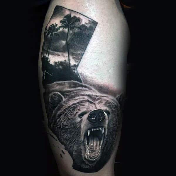 Thigh California Bear With Realistic 3d Design On Man