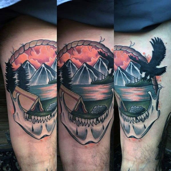 Thigh Camping Tattoo Ideas For Males
