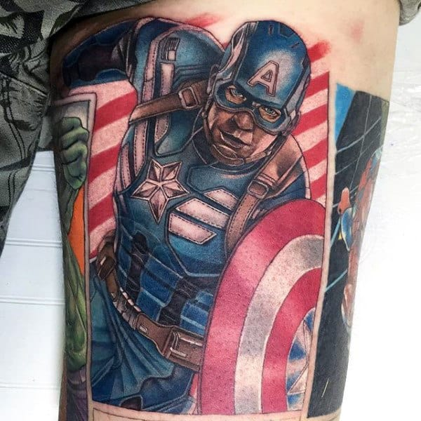 Thigh Captain America Male Tattoo