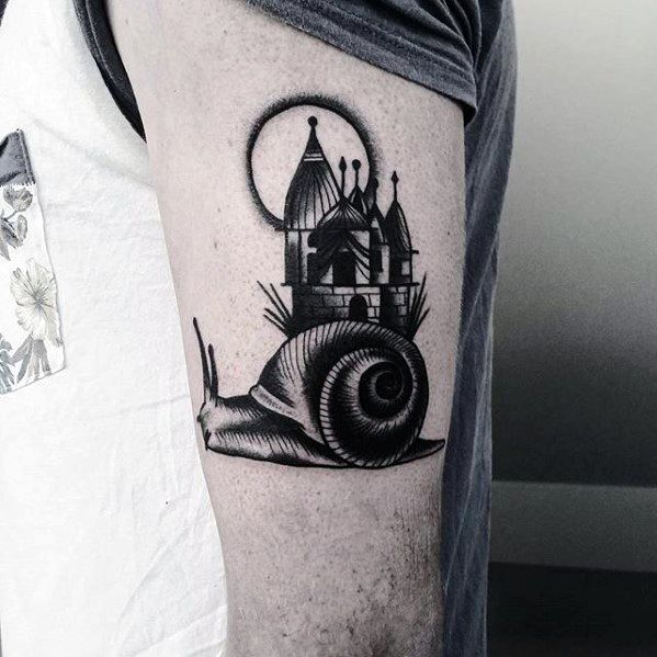 Thigh Castle Mens Snail Tattoo Design Inspiration