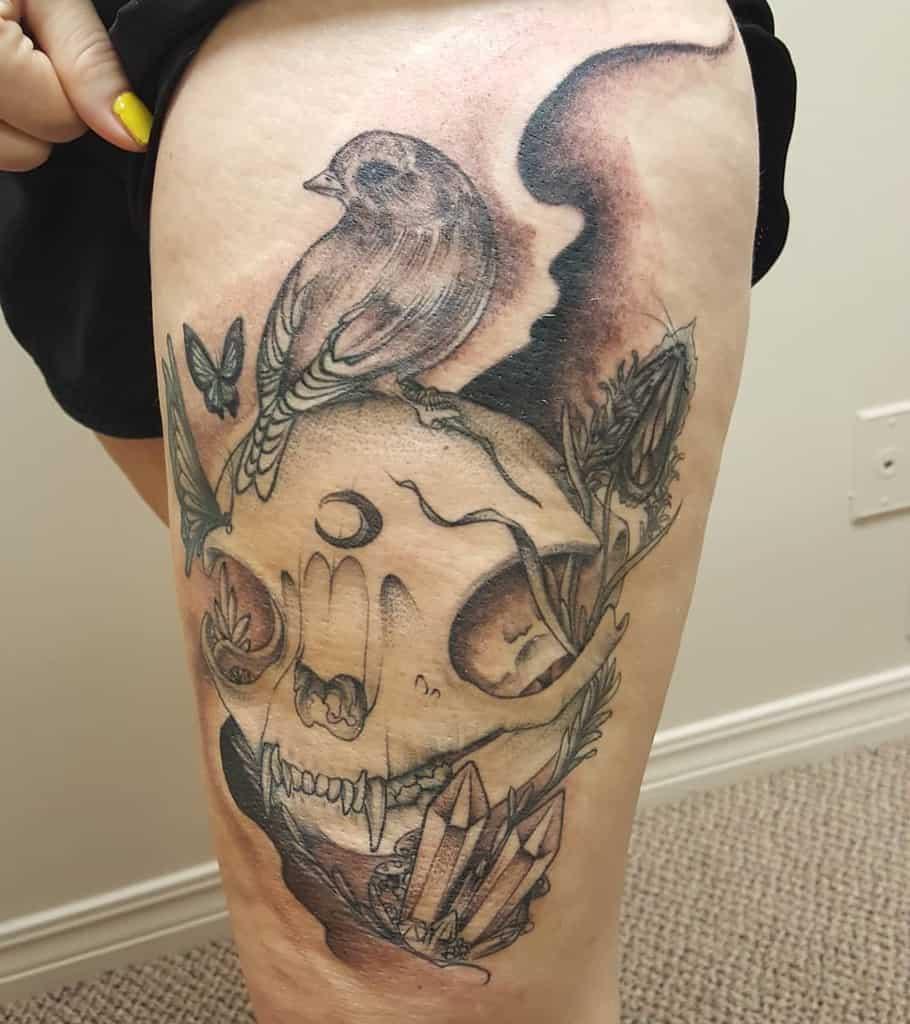 thigh cat skull tattoo james_russom