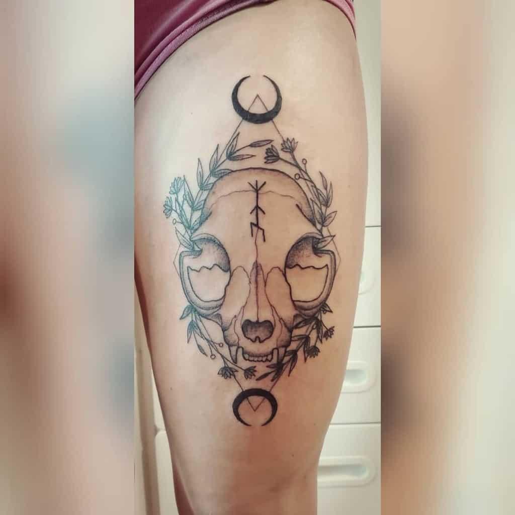 thigh cat skull tattoo lumenfierce