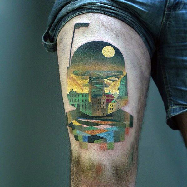 Thigh City Skyline Artistic Pixel Tattoos Male
