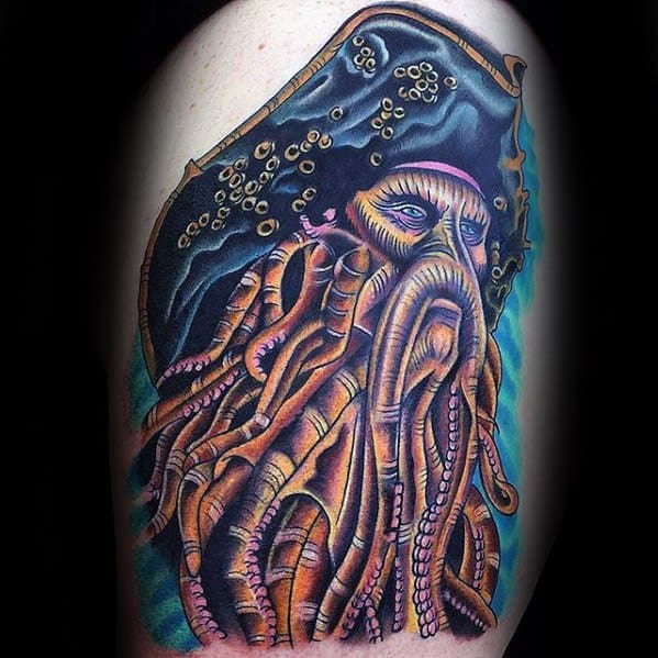 Thigh Colorful Davy Jones Tattoo Designs For Guys