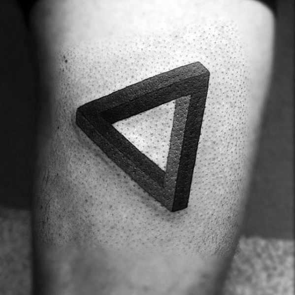 Thigh Cool Male Penrose Triangle Tattoo Designs
