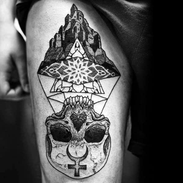 Thigh Cool Mc Escher Tattoo Design Ideas For Male