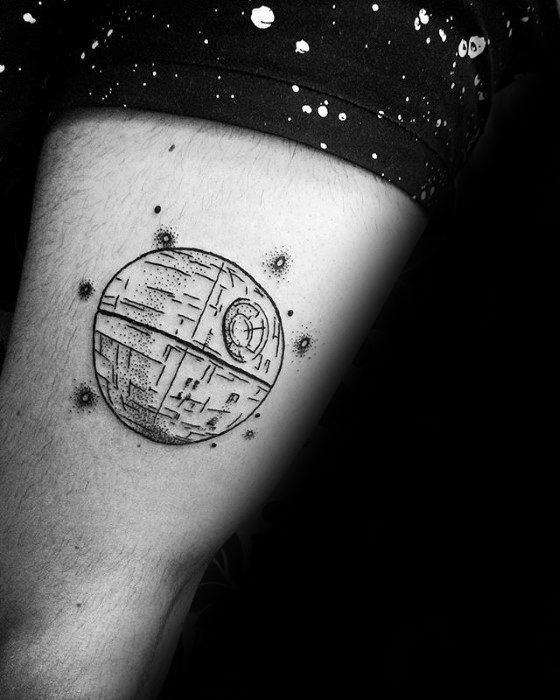 Thigh Creative Death Star Tattoos For Men