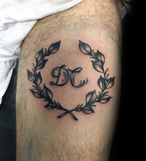 Thigh Creative Laurel Wreath Tattoos For Men