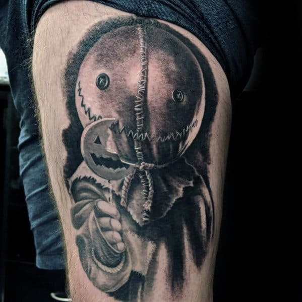 Thigh Creative Scary Movie Trick R Treat Tattoos For Guys