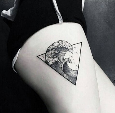 Thigh Deadly Mens Waves In Triangle Tattoo