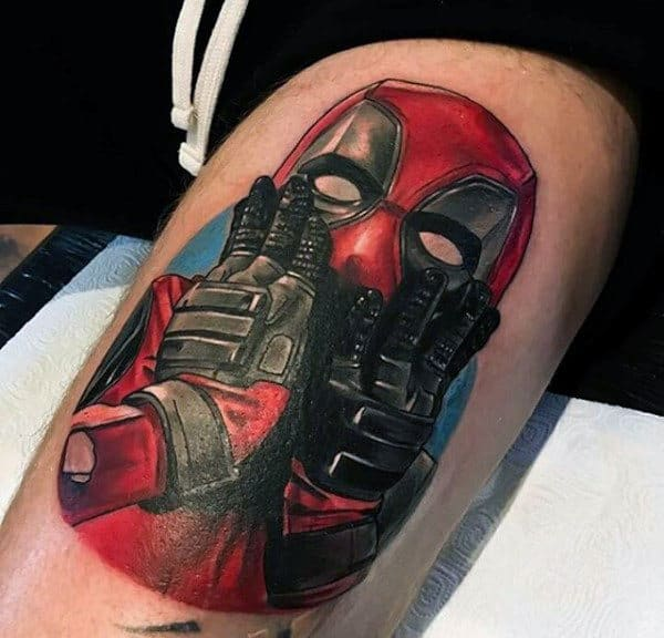 Thigh Deadpool Holding Hands To Face Mens Tattoos