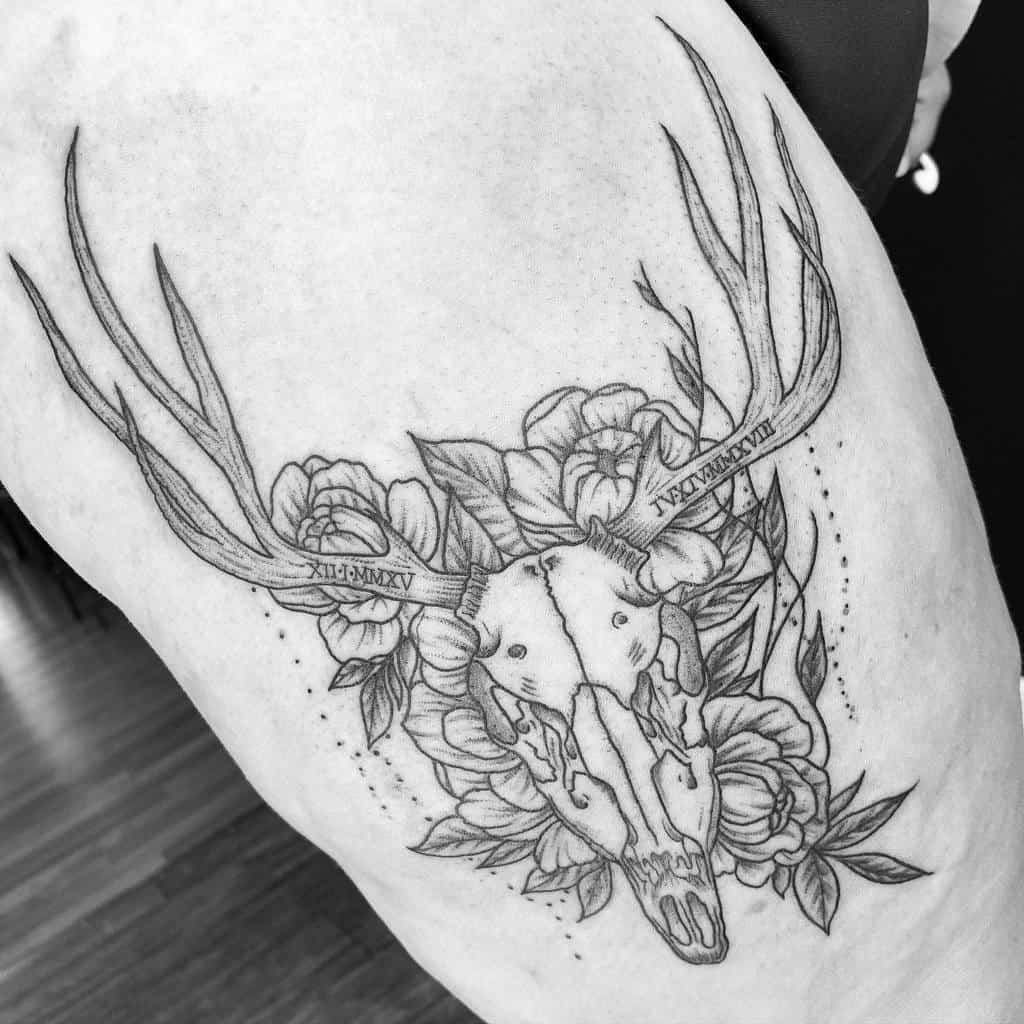 thigh deer skull tattoo alice.ink.in.wonderland