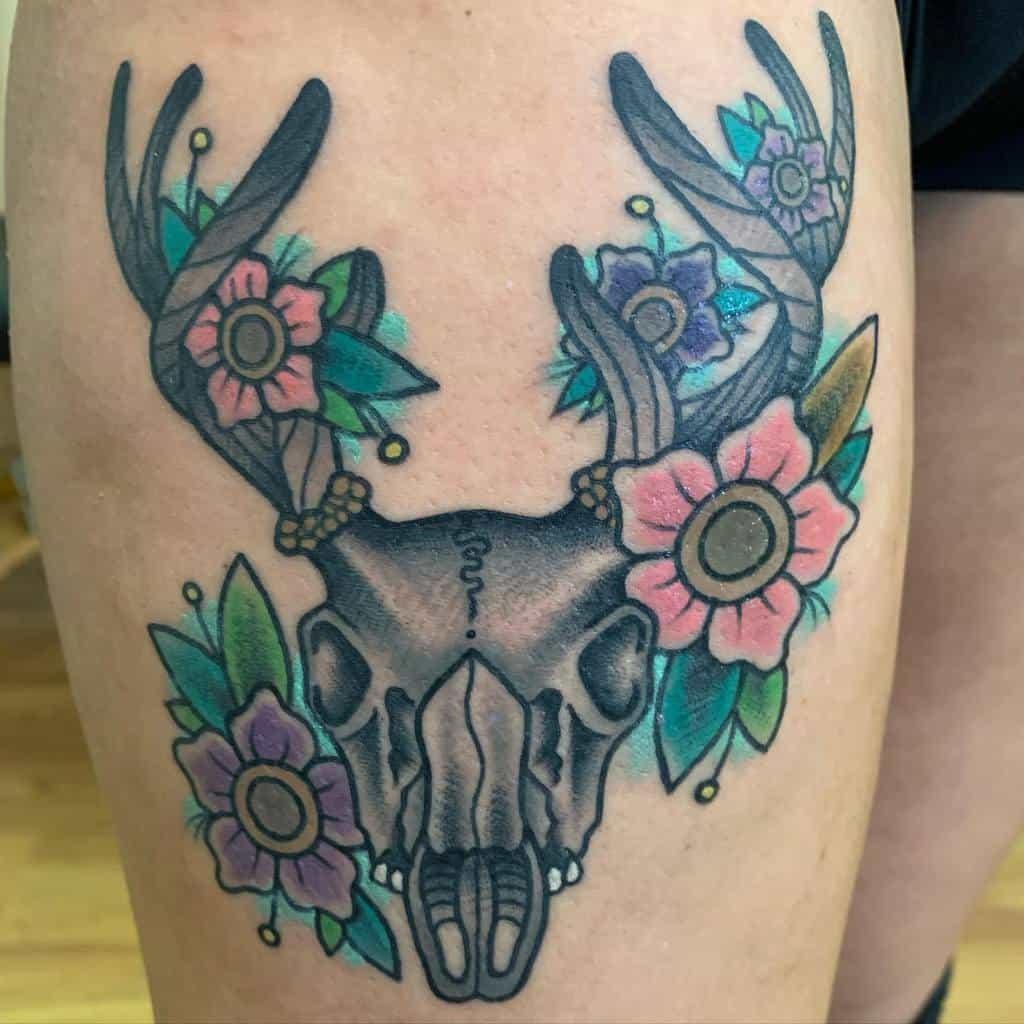 thigh deer skull tattoo bobbyxink