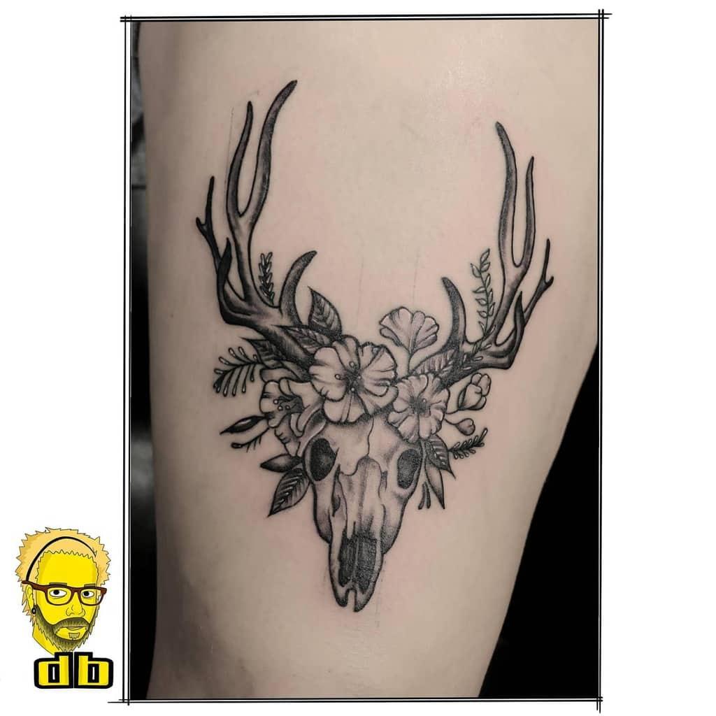 thigh deer skull tattoo hessenarts