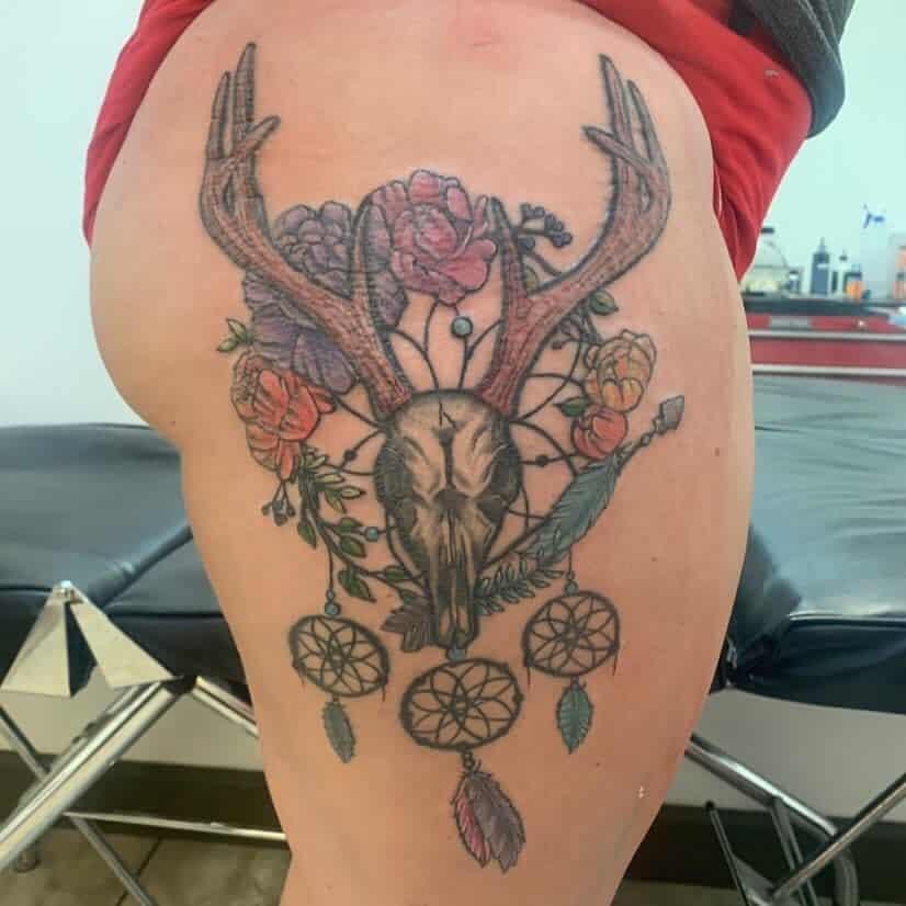 thigh deer skull tattoo tattoos_by_harley