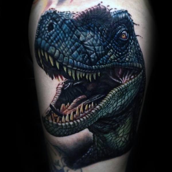 Thigh Dinosaur Head Jurassic Park Male Tattoo Ideas