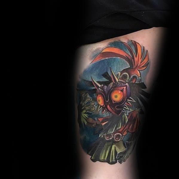 Thigh Distinctive Male Gamer Tattoo Designs