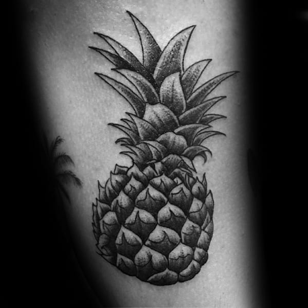Thigh Dotwork Mens Tattoo Pineapple Design