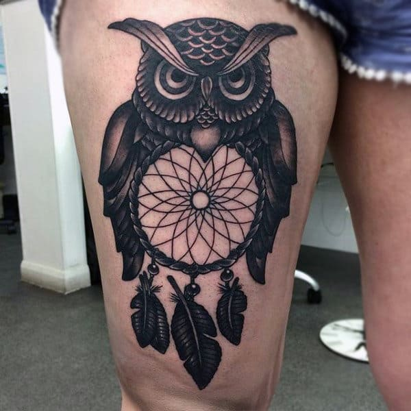 Thigh Dreamcatcher Owl Tattoos For Guys