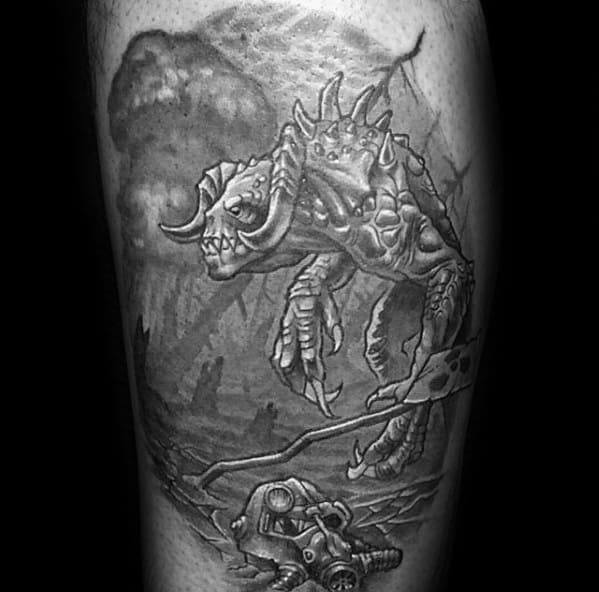 Thigh Fallout Mens Tattoo Designs