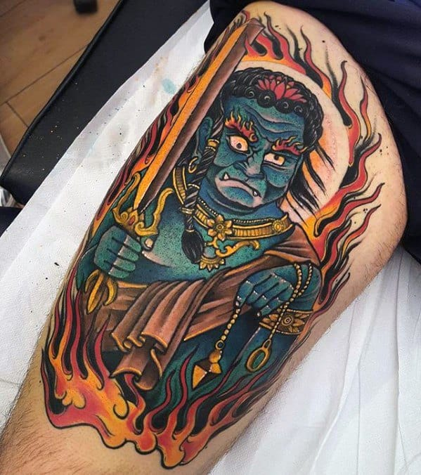 Thigh Fudo Myoo Male Tattoos