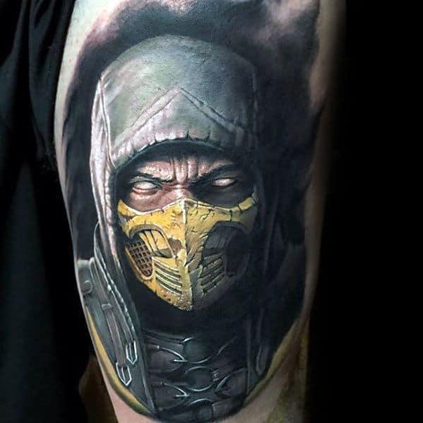 Thigh Gamer Tattoo Designs On Gentleman