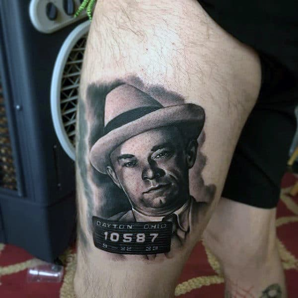 Thigh Gangster Portrait Tattoo On Man
