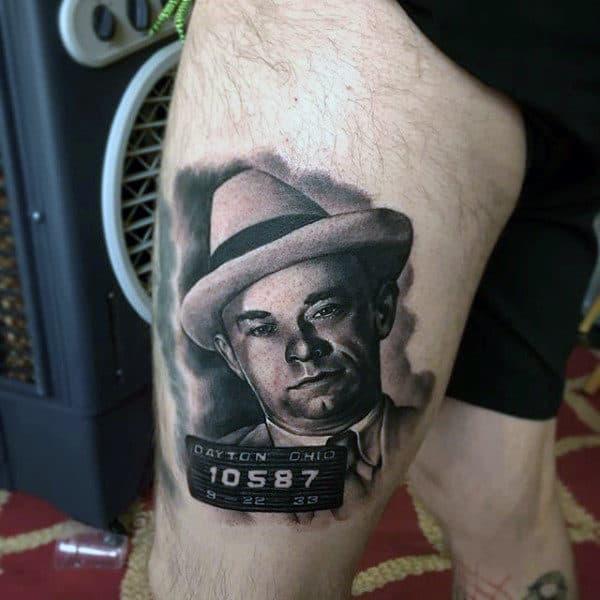 Thigh Gangster Portrait Tattoo On Man