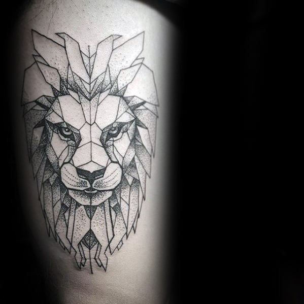 Thigh Geometric Lion Guys Tattoo Ideas