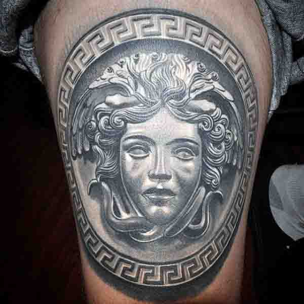 Thigh Gorgon Medusa Tattoos For Men