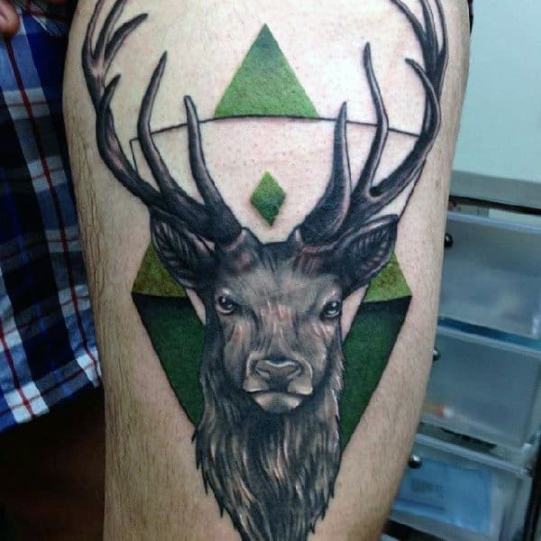 Thigh Green Antler Abstract Male Tattoos