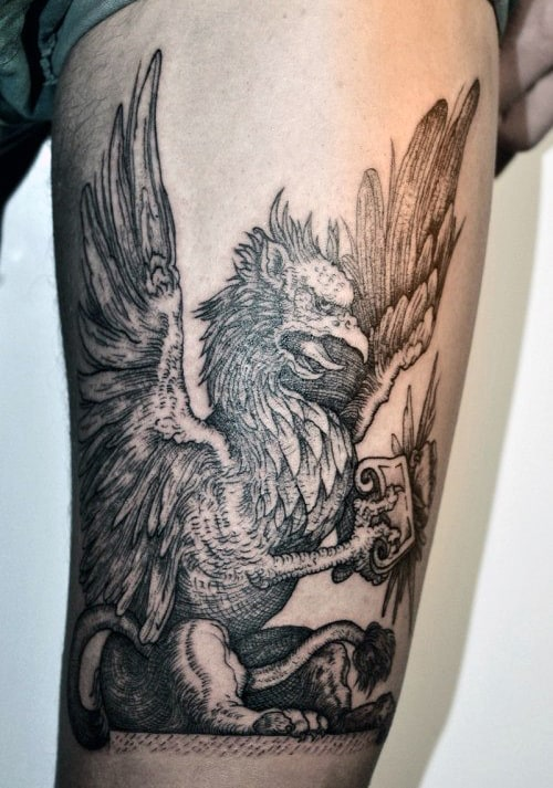 Thigh Griffin Mens Detailed Tattoo Ideas